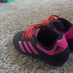 Adidas kids soccer cleats pink red and black 11k